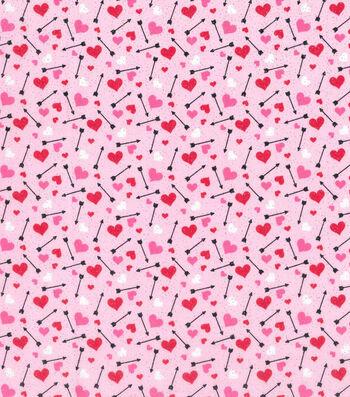 Valentine's Day Glitter Fabric 43''-Hearts & Arrows