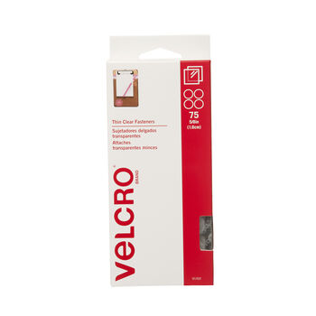 """VELCRO® Brand® Stick-On Coins 5/8"""" 75/Pkg-Clear"""