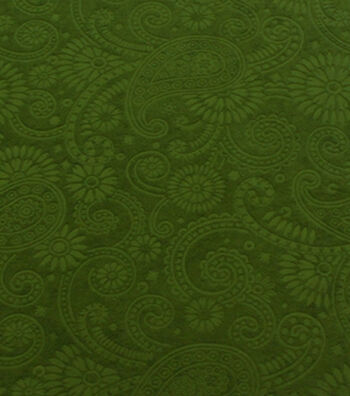 Suedecloth Fabric - Embossed Paisley Green Poly Aloba
