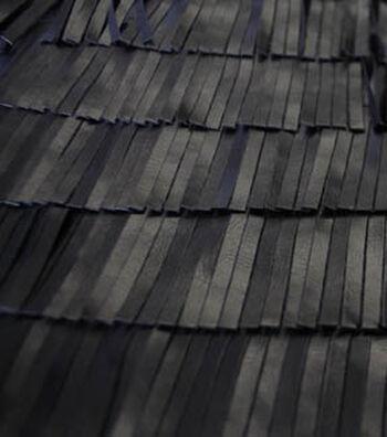 "Suedecloth Pleather Fabric 52""-Black Fringe"