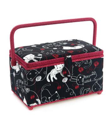 Medium Rectangle Sewing Basket-Black Cat