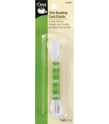 Dritz Extra Thin Nylon Beading Cord Elastic 3 yds.-White