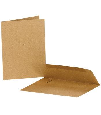 "Value Pack Note Cards w/Envelopes 4""X5.5"" 25/Pkg-Kraft"