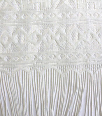 Earth Child Apparel Lace Panel Fabric With Fringe 57''-White