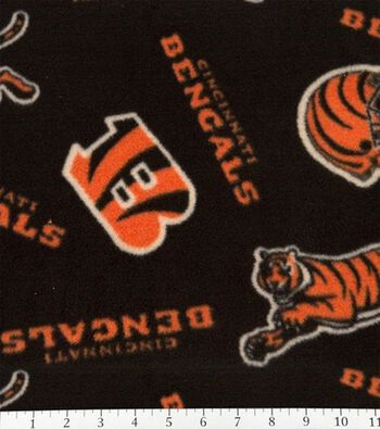 Cincinnati Bengals Fleece Fabric 58''-Tossed Print
