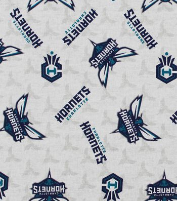 "Charlotte Hornets Cotton Fabric 44""-Logo Toss"