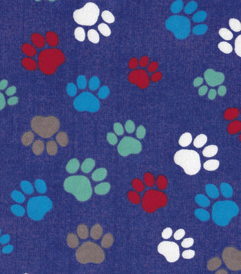 """Snuggle Flannel Fabric 42""""-Paw Prints On Blue"""