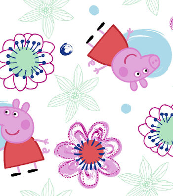 "Peppa Pig Flannel Fabric 42""-Flowers"
