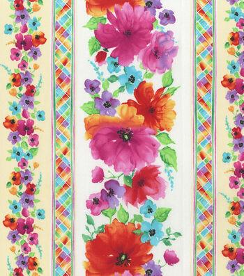 """Hi Fashion Premium Quilt Fabric 44""""-Floral Stripe"""