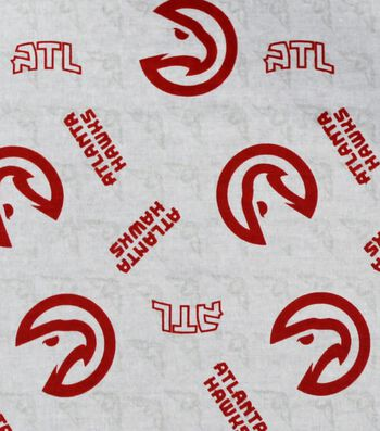 "Atlanta Hawks Cotton Fabric 44""-Logo Toss"