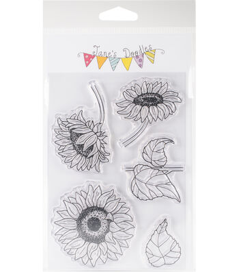 "Jane's Doodles Clear Stamps 4""X6""-Sunflowers"