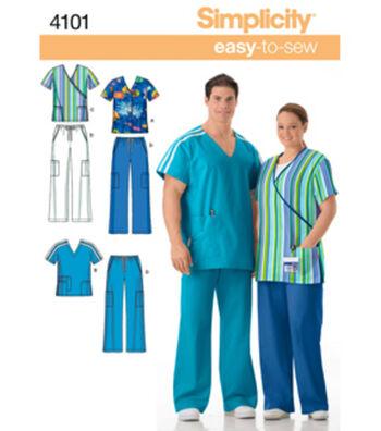 Simplicity Pattern 4101AA Scrub Tops & Pants-Size S M L