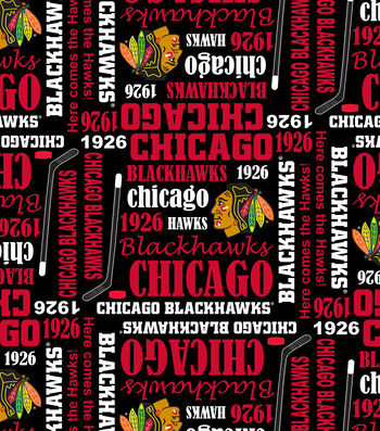 Chicago Blackhawks Cotton Fabric 43''-Writing