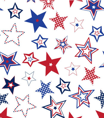 "Patriotic Cotton Fabric 44""-Patterned Stars"