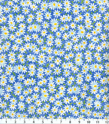 "Keepsake Calico™ Cotton Fabric 44""-Packed Daisy Blue"