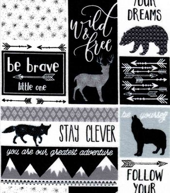 """Nursery Flannel Fabric 42""""-Be Brave Patch"""