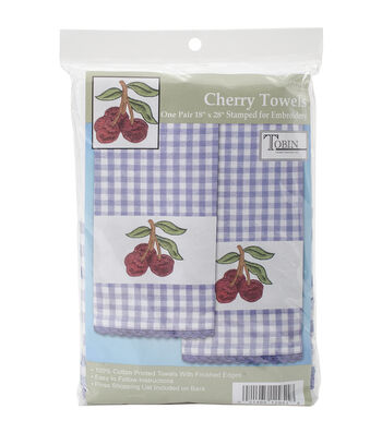 Tobin Cherry Stamped Kitchen Towels For Embroidery 16''x28''