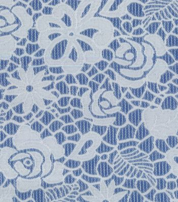 """Azure Collection Jacquard Fabric 53""""-Reversible Floral Navy White"""