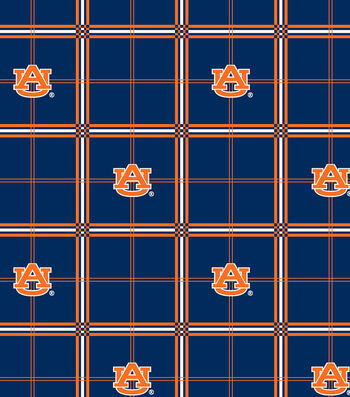 "Auburn University Tigers Flannel Fabric 42""-Plaid"