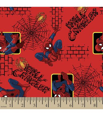 "Marvel Comics Spider-Man Flannel Fabric 42""-Wall Crawler"
