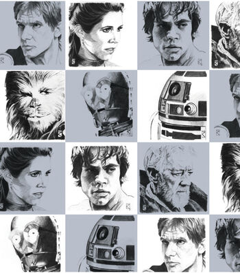"""Star Wars™ Cotton Fabric 44""""-Characters White"""