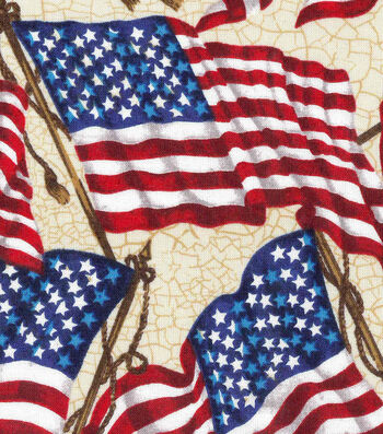 "Patriotic Cotton Fabric 43""-Waving Flag"