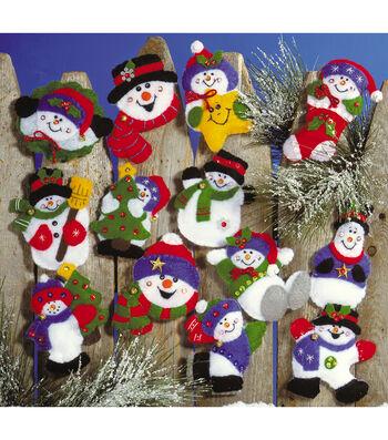 """Lots Of Fun Snowmen Ornaments Felt Applique Kit 3""""X4"""" Set Of 13"""