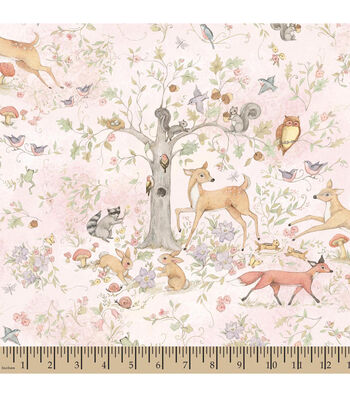 Susan Winget Cotton Fabric 43''-Woodland Buddies