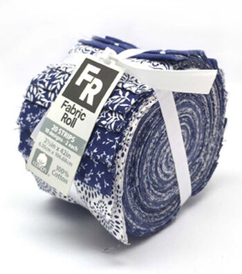Jelly Roll Cotton Fabric 2.5''-Assorted Navy & White Patterns
