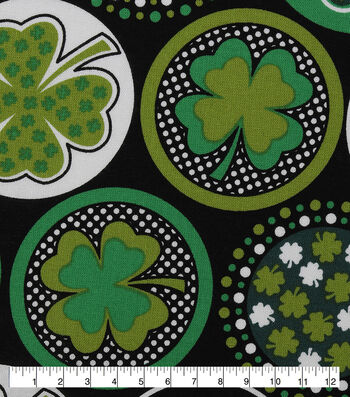 St. Patrick's Day Fabric 43''-Black with Shamrocks & Dots