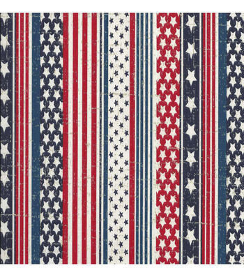 "Patriotic Cotton Fabric 44""-Faded Glory Flag"