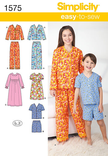 Simplicity Pattern 1575K5 Children's Loungewear-Size 7-8-10-12