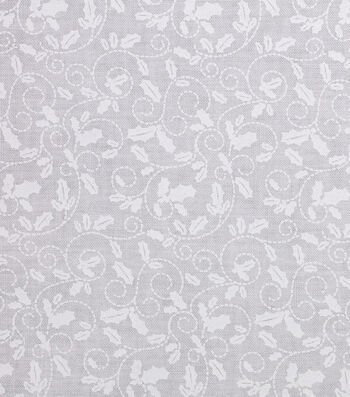 Holiday Showcase™ Christmas Cotton Fabric 43''-Holly Leaves on White
