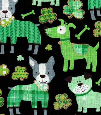 St. Patrick's Day Print Fabric 44''-Black with Metallic Lucky Dog