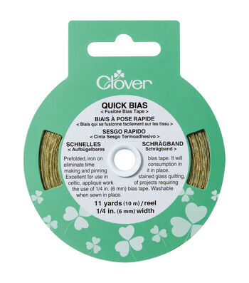 """Clover Quick Bias Fusible Tape-1/4""""W x 11yds Gold Lame"""