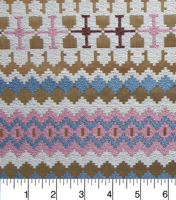 "Southwest Jacquard Fabric 54""-Metallic Pink and Blue"