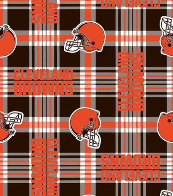 "Cleveland Browns Fleece Fabric 58""-Plaid"