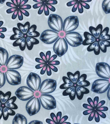 """Snuggle Flannel Fabric 42""""-Pink Blue Flowers"""
