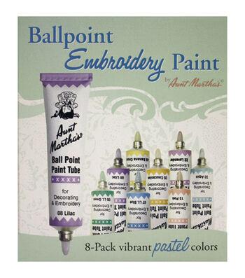 Aunt Martha's Ballpoint Paint Tubes 1 Ounce 8/Pkg- Pastel Colors
