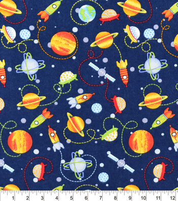 """Snuggle Flannel Fabric 42""""-Space Ships And Planets"""