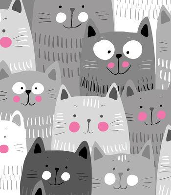 """Anti-Pill Fleece Fabric 58""""-Happy Gray Cats"""
