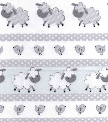 """Snuggle Flannel Fabric 42""""-Gray Dotted Sheep"""
