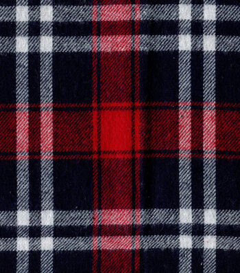 "Flannel Shirting Fabric 41""-Red Navy White"