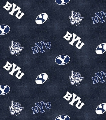 """Brigham Young University Cougars Flannel Fabric 42""""-Distressed Logo"""