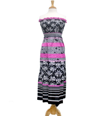 "Style In An Instant 45"" Shirred Dress Floral Stripe Black"