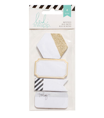 Heidi Swapp 4 pk Notepads-Black & Gold