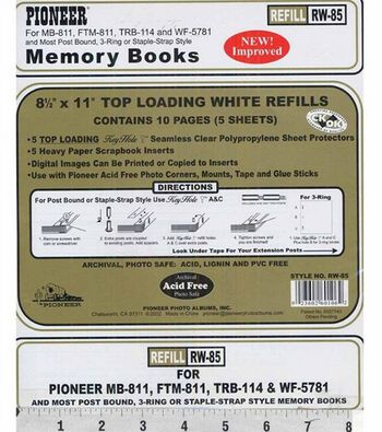 """Pioneer Universal Top Loading Page Protectors 5PK-8.5""""x11"""""""
