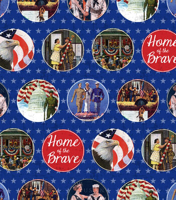 "Patriotic Cotton Fabric 43""-Home of the Brave"