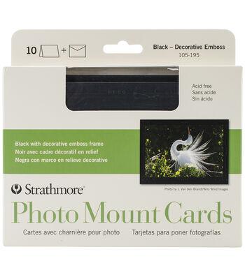 Strathmore Cards & Envelopes 10/Pkg-Black W/Decorative Emboss Frame