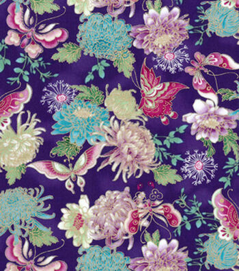 Asian Inspired Cotton Fabric 43''-Metallic Butterfly & Floral